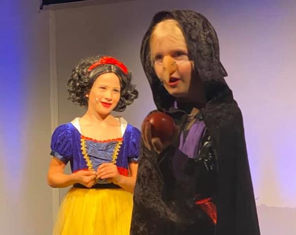 Snow White and the Witch in School Play